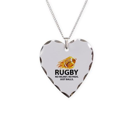 Rugby Just Balls Necklace Heart Charm