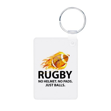 Rugby Just Balls Aluminum Photo Keychain