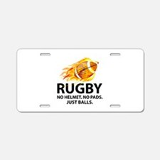 Rugby Just Balls Aluminum License Plate