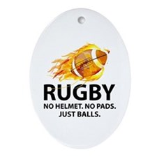 Rugby Just Balls Ornament (Oval)