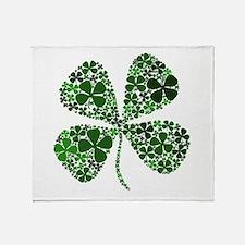 Lucky 4 Leaf Clover Irish Throw Blanket