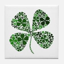 Lucky 4 Leaf Clover Irish Tile Coaster