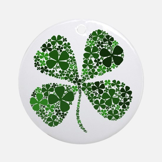 Lucky 4 Leaf Clover Irish Ornament (Round)
