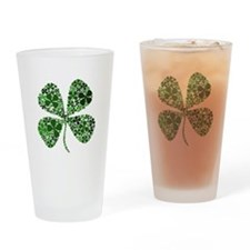Lucky 4 Leaf Clover Irish Drinking Glass