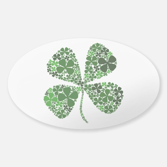 Lucky 4 Leaf Clover Irish Sticker (Oval)