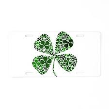 Lucky 4 Leaf Clover Irish Aluminum License Plate