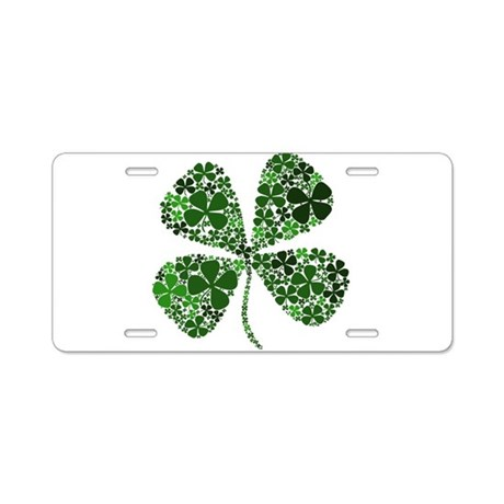 Lucky 4 Leaf Clover Irish Aluminum License Plate