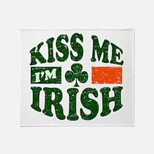 Kiss Me Im Irish Throw Blanket