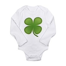 Lucky Irish Four Leaf Clover Long Sleeve Infant Bo