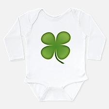 Lucky Irish Four Leaf Clover Long Sleeve Infant Bo