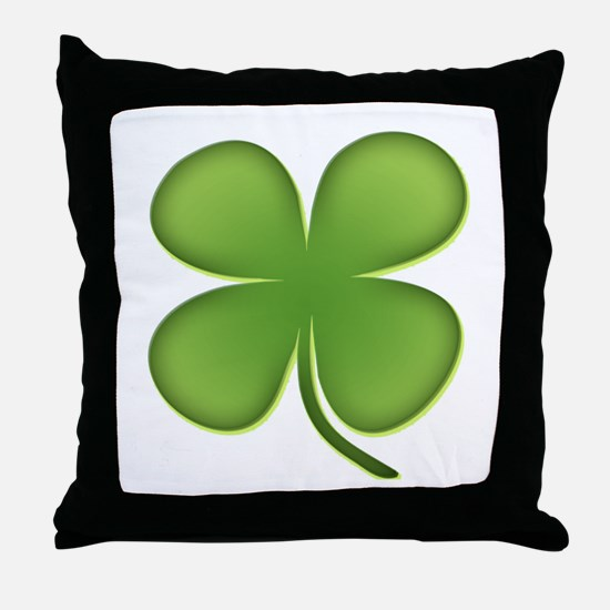 Lucky Irish Four Leaf Clover Throw Pillow