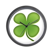 Lucky Irish Four Leaf Clover Wall Clock