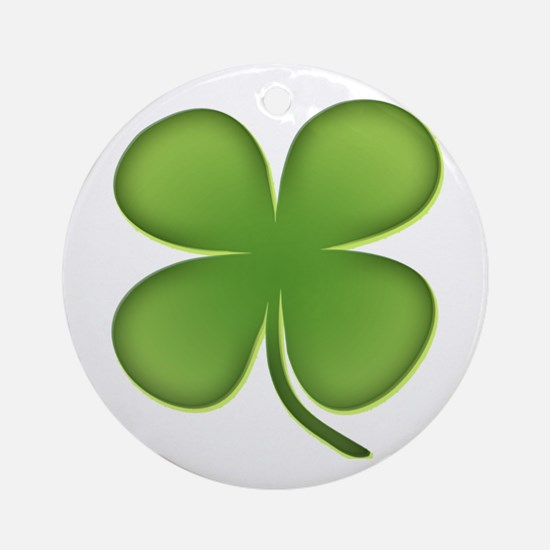 Lucky Irish Four Leaf Clover Ornament (Round)