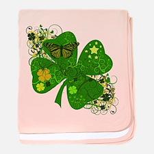 Lucky Irish Four Leaf Clover baby blanket