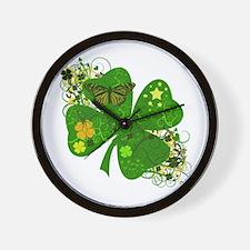 Lucky Irish Four Leaf Clover Wall Clock