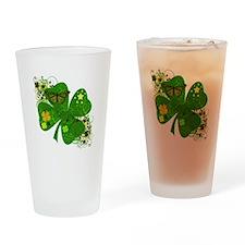 Lucky Irish Four Leaf Clover Drinking Glass
