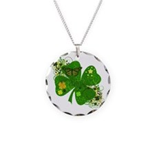 Lucky Irish Four Leaf Clover Necklace Circle Charm