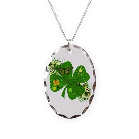 Lucky Irish Four Leaf Clover Necklace Oval Charm