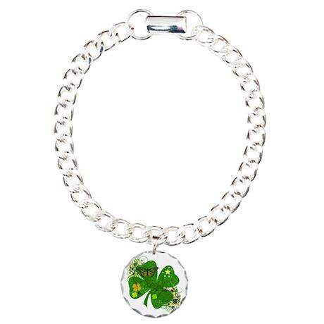 Lucky Irish Four Leaf Clover Charm Bracelet, One C