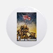 Now All Together American Flag Ornament (Round)