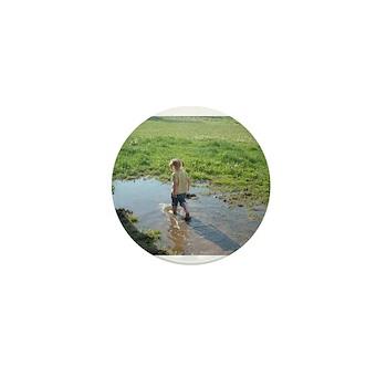 Girl splashing Mini Button