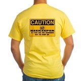 Bee warning Mens Classic Yellow T-Shirts