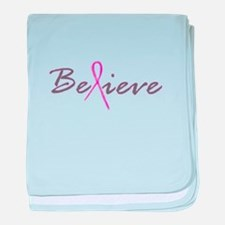 Believe Breast Cancer baby blanket