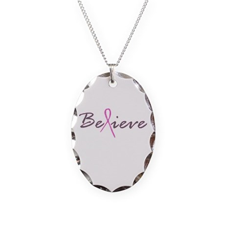 Believe Breast Cancer Necklace Oval Charm