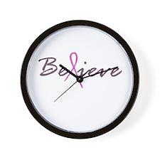 Believe Breast Cancer Wall Clock