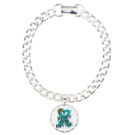Battle Ovarian Cancer Charm Bracelet, One Charm