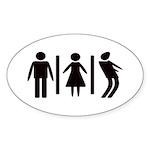 Zombie Toilets Sign Sticker (Oval 50 pk)