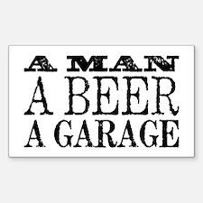 A Man, A Beer, A Garage Sticker (Rectangle)