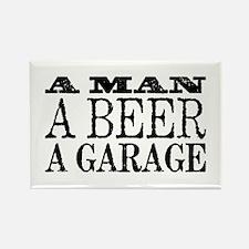 A Man, A Beer, A Garage Rectangle Magnet