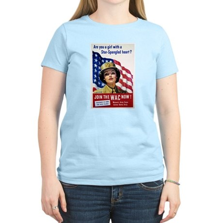 WAC Star-Spangled Heart (Front) Women's Pink T-Shi