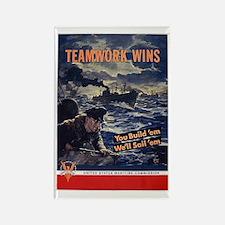 Patriotic Teamwork Wins Rectangle Magnet (10 pack)