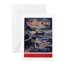 Patriotic Teamwork Wins Greeting Cards (Package of