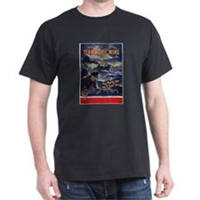 Patriotic Teamwork Wins (Front) Black T-Shirt