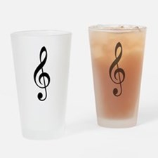 Trad Basic Black Treble Clef Drinking Glass