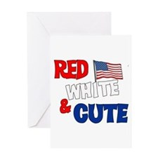 Red white and cute Greeting Card