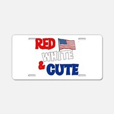 Red white and cute Aluminum License Plate