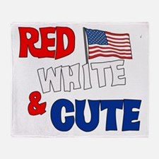 Red white and cute Throw Blanket