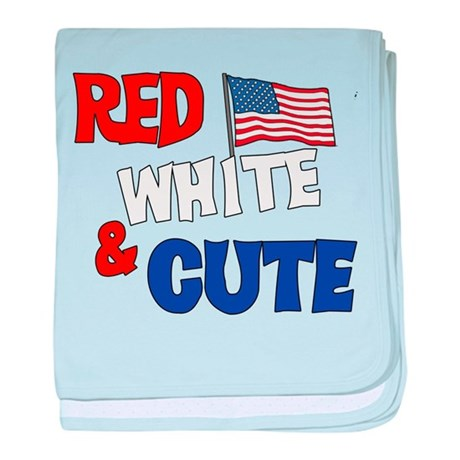 Red white and cute baby blanket