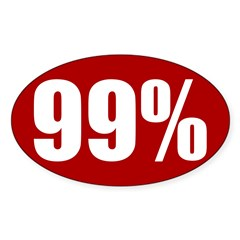 Red 99 percent oval bumper sticker