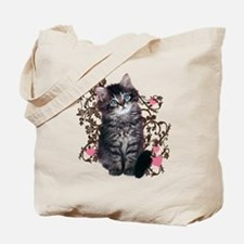 Cute Blue-eyed Tabby Cat Tote Bag
