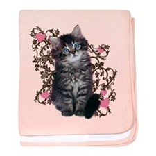 Cute Blue-eyed Tabby Cat baby blanket
