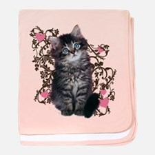 Cute Blue-eyed Tabby Cat baby blanket