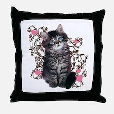 Cute Blue-eyed Tabby Cat Throw Pillow