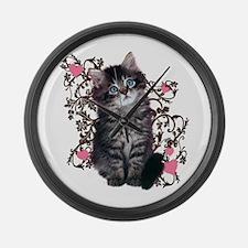 Cute Blue-eyed Tabby Cat Large Wall Clock
