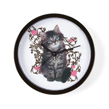 Cute Blue-eyed Tabby Cat Wall Clock