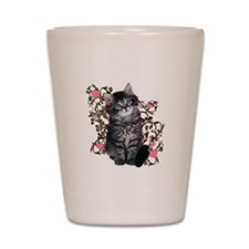 Cute Blue-eyed Tabby Cat Shot Glass